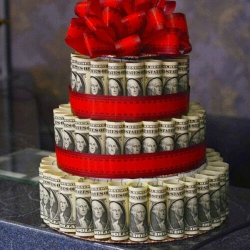 Is it tacky to write a check for a wedding gift? money cake