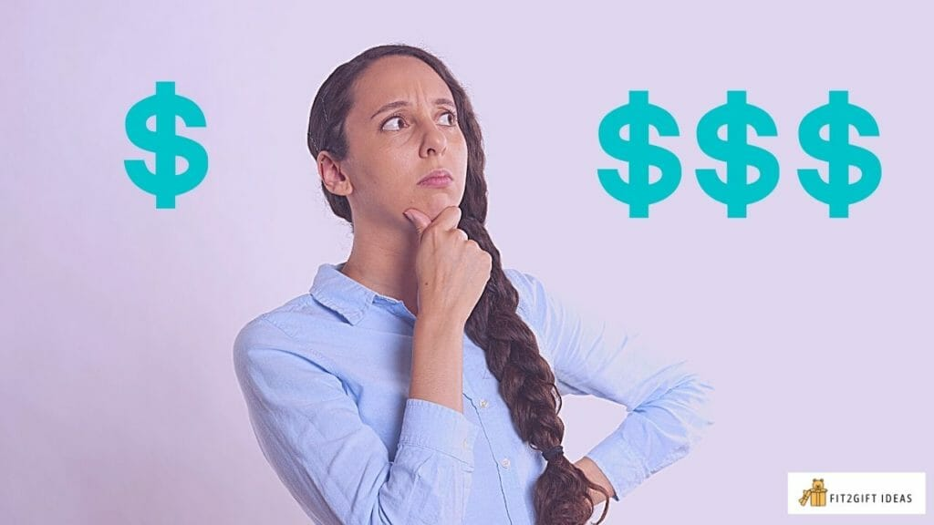 woman thinking how much money or check to write for wedding gift